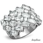 STUNNING SILVER STAINLESS STEEL WIDE BAND AAA CZ FASHION RING WOMEN'S SIZE 5-10