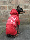Small dog clothes Chihuahua velour tracksuit red coat outfit Size - XS, S