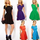 Empire Comfortable Women's Sexy A- Shape Short Sleeve Pleated Circle Mini Dress