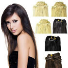 "16""-24"" Long Straight 8PCS Full Head Remy Real Human Hair Extensions Clip-in"