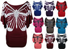 NEW WOMENS BUTTERFLY PRINT BATWING TOP LADIES PLUS SIZE STRETCH TOP SIZE 16-26