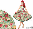 British Retro Green floral Swing Dress *Vintage 50s Rockabilly Party Pin-Up*