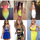 Celeb Style Multicolour Ombre Yellow Bandage Bodycon Boutique Dress Towie UK