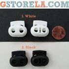 4 Pieces Black/White Shoe Lace/Elastic Stretch Buckle Clamp Rope Stopper Cord