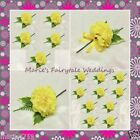 WEDDING FLOWERS BUTTONHOLE SINGLE SILK CARNATION YELLOW WITH OR WITHOUT BOW