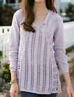 LADIES CABLE KNIT JUMPER SWEATER LONG SLEEVE TOP TUNIC COTTON UK 10/12 EU 38 40