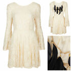 Topshop Lace Chain Feather Back Dress by Coco's Fortune Sz 4-6, 8-10, 36-38