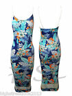 Womens New Celebrity Floral Tropical Print Ladies Bodycon Midi Dress Hawaiian