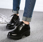 New Womens Fashion Retro lace up chunky block heels Round toe ankle boots shoes