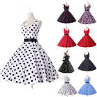 IN UK Ladies 50s Retro 40s Print Rockabilly Pinup Party Vintage Style Prom Dress
