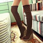 Sexy Women's Leopard Wedge High Heel Platform Pull On Fashion Over Knee Boots