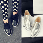 Retro Womens Brogues Wingtip Lace Up Oxfords Flats Platform Girls Dress Shoes SZ