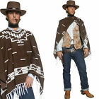 Mens Poncho Cowboy Fancy Dress Costume Western / Wild West Cow Boy Outfit
