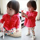 Stylish Baby Toddlers Girls Clothes Zipper Hooded Outerwear Coat Ages 9M-2Y Hot