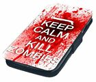 Keep Calm and Kill Zombies Printed Faux Leather Flip Phone Cover Case