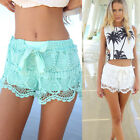 Ladies Lovely Geometric Bandge Tie Crochet Lace Fine Fashion Solid Shorts Pants