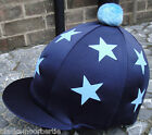 Riding Hat Silk Skull cap Cover NAVY *DOUBLE BABY BLUE STARS With OR w/o Pompom