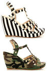 WOMENS LADIES WEDGE HEEL ANKLE STRAP PEEP TOE STUDDED SPIKED SANDALS (HW82)