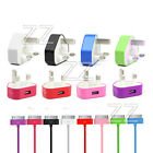 CE USB DATA CABLE LEAD + MAINS CHARGER FOR IPHONE 4 4S 3G 3GS IPOD TOUCH NANO UK