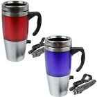 12V AUTO USB STAINLESS STEEL HEATED TRAVEL MUG FLASK WITH CAR & USB CHARGER