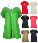 Womens Ladies Frill Necklace V Neck Short Sleeve Plus Size Tunic Blouse Top.
