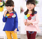 Hot New Fashion Kids Toddler Clothing Girls Long Sleeve Round Collar Tops Sz3-7Y