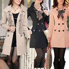 New Ladies Trench Coat Double Breasted Slim Fit Jacket Outdoor Outwear Size 8-14
