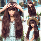 new fashion style curly wave long hair full wigs women cosplay party brown wig