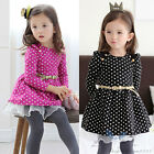Kids Toddler Girls Clothes Clothing Round Dot With Belt Princess Dress Sz2-7Y
