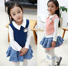 Hot Sale Kids Toddler Girls Clothes Tops Blazer short Skirts Outfits Sets Sz3-8Y