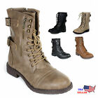 New Womens Lace Up Boot Tango Combat Fashion Boots Faux Leat