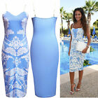 NEW Lace Print Midi Bodycon Dress Paisley Blue Party Slim Ladies Skirt Size 8-16