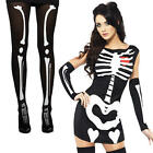 Sexy Skeleton + Tights Ladies Fancy Dress Halloween Party Womens Adult Costume