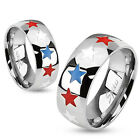 316L Stainless Steel Red White Blue Stars Patriotic Band Ring New Size 5-13