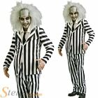 Mens Beetlejuice Ghost Halloween Adult 1980s Film Fancy Dress Costume Outfit