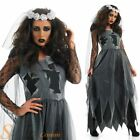 Ladies Black Zombie Corpse Bride Halloween Fancy Dress Costume Outfit Sizes 8-30