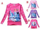 NEW Girls Frozen Princess Anna,Elsa Long Sleeves cotton T-shirt Top Size 2-7Y