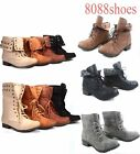 Women's 2 Styles Round Toe Low Heel Military Lace Up Bootie Shoes Size 5.5 - 10