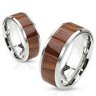 Stainless Steel Wood Center Inlay Band Ring Size 5-13