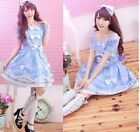 Sweet GOTHIC PUNK LOLITA ALICE BOWS Pinao Key DRESS + HEADHOOP S-L 81132 Blue