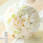 Vintage Silk Bride Bouquet Hydrangea Rose Blush Cream Shabby Chic Modern Wedding