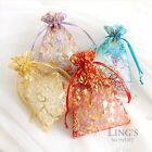 Silver Heart Organza Pouch Bronzing Drawable Wedding Party Gift Bags Decoration