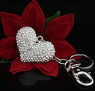 Women Lady Crystals Diamante Heart Handbag Bag Charm Keyring Keychain For Women <br/> Buy 1, get 1 at 40% off. No Limit.Buy more get more off