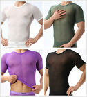 New Brand Men's Sexy See Through Soft Mesh V-neck line T-Shirts Size S,M,L#FY24