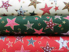 Christmas Stars With Snowflakes & Holly Berries 100% Cotton Fabric Quilts/Craft