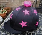 Riding Hat Silk Skull cap Cover BLACK * HOT CERISE PINK STARS With OR w/o Pompom