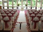 Dark Red Theme Wedding Organza Chair Sash,Paper Flower Petal,Satin Ribbon Decor
