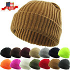 THICK Ribbed Beanie Knit Ski Cap Skull Hat Warm Solid Color Winter Cuff Blank