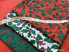 Christmas Festive Hollyberry Leaves & Berries Polycotton Fabric Fat Quarter pack