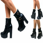 LADIES WOMENS CLEATED SOLE CHUNKY HIGH HEEL PLATFORM BUCKLE ANKLE BOOTS SHOES